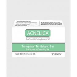 ACNELICA Transparent Cleansing Soap Bar, 1% Tea Tree Oil Soap, Salicylic Acid, Dermatologically Tested, Acne, Blackhead, and Hyperpigmentation Soap Bar, 100 gr, e net wt. 3.5 oz