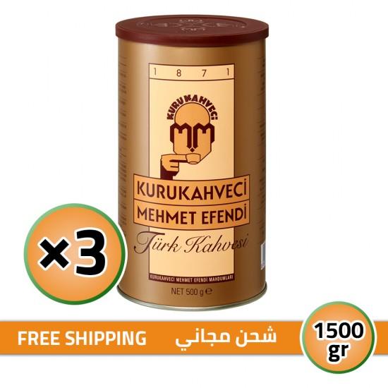 Turkish Coffee, Mehmet Efendi Turkish Coffee, Luxurious Taste, FREE SHIPPING, 3 × 500, 1500 gr